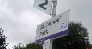 St James' Park station sign