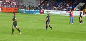 Bergqvist in action for Aldershot against Crystal Palace in a pre-season friendly (feat)