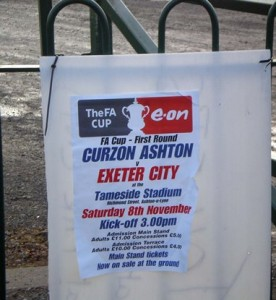 Curzon Ashton v Exeter City at the Tameside Stadium. FA Cup.