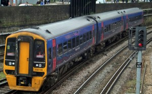Exeter train arriving at Fratton, Portsmouth. First Great Western. FGW.