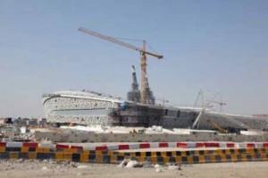 Doha, Qatar. Football stadium under construction.