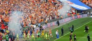 Picture of Blackpool and Exeter players entering the pitch at Wembley