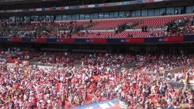 Exeter City fans at Wembley for play off final game against Coventry