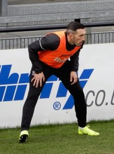 Ryan Bowman, warming up