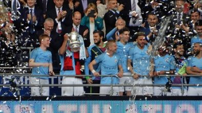 Picture of Man City raising the FA Cup at Wembley