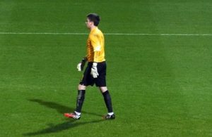 Pym in England strip, playing for the under 20s at Bournemouth