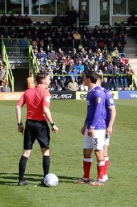 referee ben toner craig woodman at Forest Green Rovers